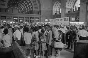 Protesters in Washington Union Station's Interior