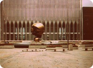 The empty plaza of the original World Trade Center