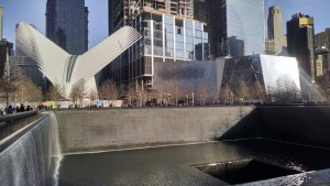 A view of the World Trade Center Memorial