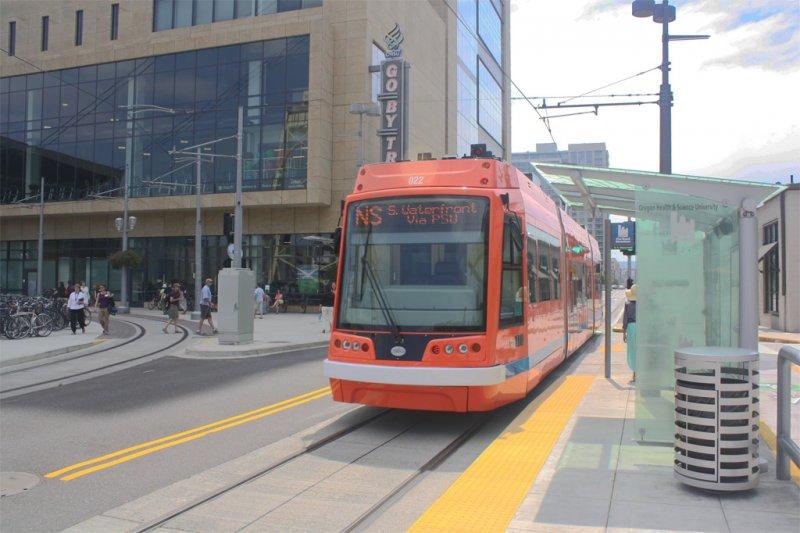 The Portland Streetcar at the OHSU Station