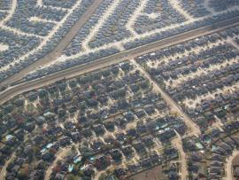 Aerial view of the endless suburbs of Houston.
