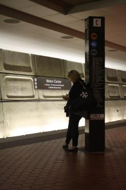Person Waiting at Metro Center Metro station