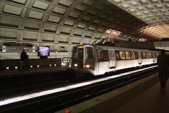 Metro Train pulling into DuPont Circle Station