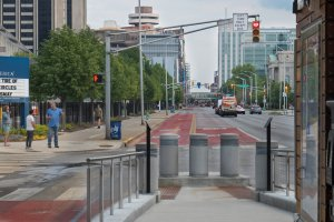 Bus lanes in Downtown Indy